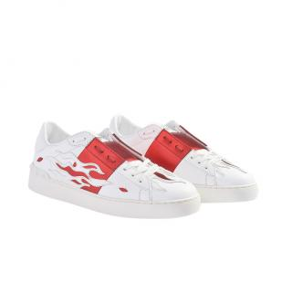 Valentino Flame Open Sneakers in White and Red Calfskin