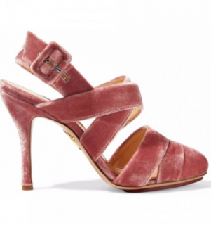Charlotte Olympia Pink Velvet Strappy Sandals