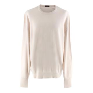 Ballantyne Ivory Cashmere Knit Sweater