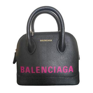 Balenciaga Black & Pink Ville Top Handle Bag