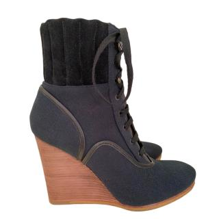 Chloe Mountain Canvas & Suede Lace up Wedge Boots