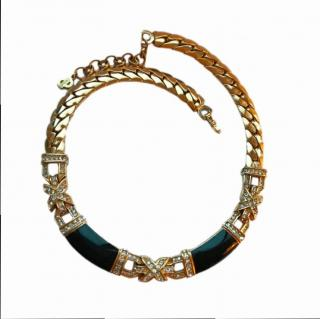 Christian Dior Crystal & Enamel Gold Plated Collar Necklace