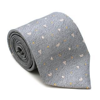 Bvlgari Grey Silk Classical Columns Tie