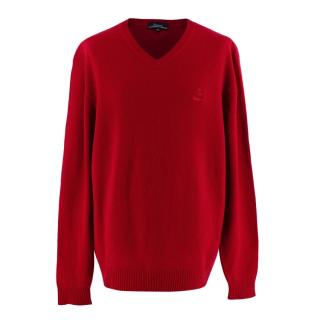 Faconnable Red Lambs Wool V Neck Sweater