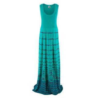 M Missoni Turquoise Patterned Knit Maxi Dress