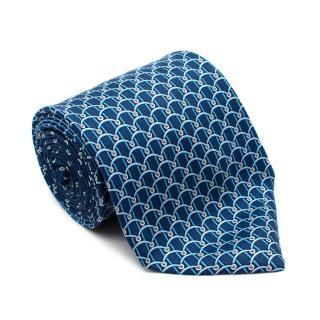 Versace Blue Silk Loop Print Tie
