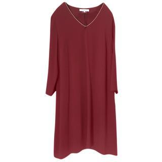 Gerard Darel Burgundy Metallic Trimmed Shift Dress
