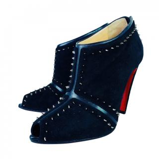 Christian Louboutin Carapachoc 100 Black Suede Spiked Booties