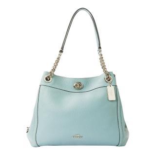 Coach Blue Turnlock Edie Leather Shoulder Bag