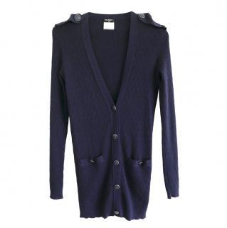 Chanel Navy Knit Cardigan