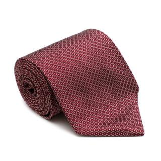 Burberry Red Silk Circles Print Hand Made Tie