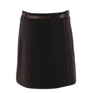 Loro Piana Brown Cashmere Blend Wrap Belted Mini Skirt