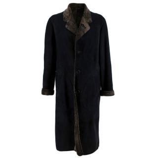 Paul Smith Black Long Shearling Suede Longline Coat