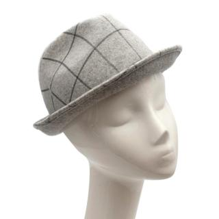 Giorgio Armani Grey Checked Wool Felt Hat