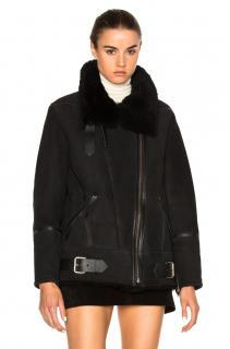 Iro Black Shearling Barrett Biker Coat