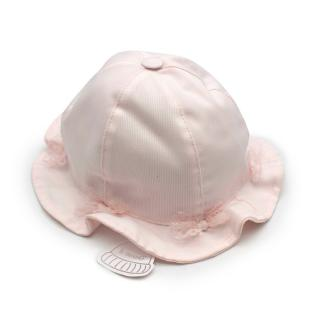Il Trenino Artisanal Pink Cotton Embroidered Baby Bucket Hat