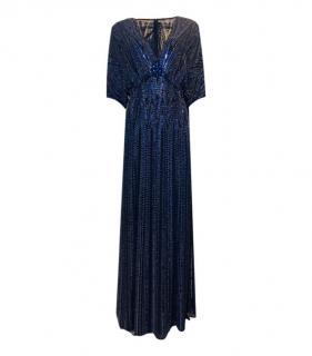 Jenny Packham Blue Silk Sequin Embellished Gown