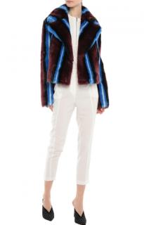 Diane Von Furstenberg Blue/Burgundy Faux Fur Short Coat