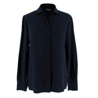 Loro Piana Navy Cashmere & Silk Shirt