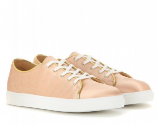 Charlotte Olympia Web Embroidered Satin Sneakers in Peach