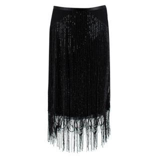 MaxMara Black Sequin Fringed Skirt
