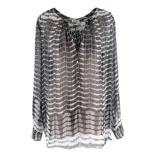 L'Agence Black & White Pattern Silk Top
