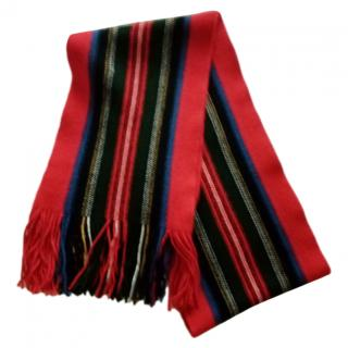 Johnstons Red Striped Lambs Wool Scarf