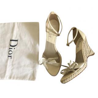 Dior Ecru Raffia Wedge Sandals