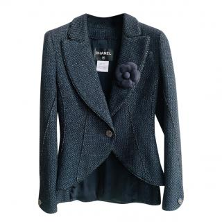 Chanel Black & Navy Woven Tweed Metallic Tailored Jacket