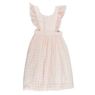 Bonpoint Pink Checked Open Back Ruffled Dress