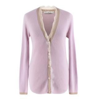 Christian Dior Pink Cashmere & Silk Knit Lace Detail Cardigan