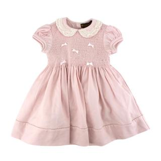 Fleurisse Pink Wool Smocking Embroidered Dress