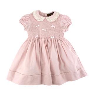 Fleurisse Pink Wool Smocking Embroidered Dress