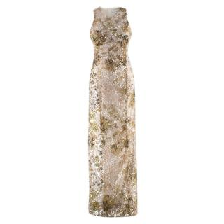 Galvan London Paillette White & Chartreuse Sequin Column Gown