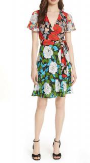 DVF Flutter Sleeve Tie Front Dress