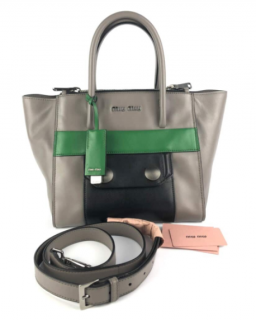 Miu Miu Grey/Green Double Zip Tote