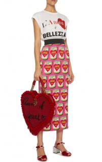 Dolce & Gabbana Pink Amore Soup Print Midi Skirt