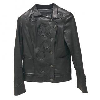 Chanel Black Camellia Cutwork Leather Jacket