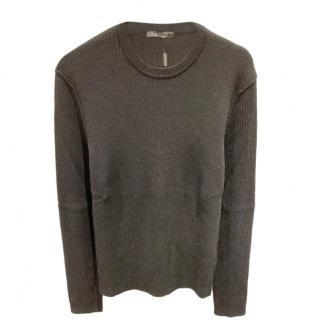 Dolce & Gabbana Black Ribbed Knit Sweatshirt