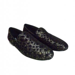 Dolce & Gabbana Flocked Velvet Mens Loafers