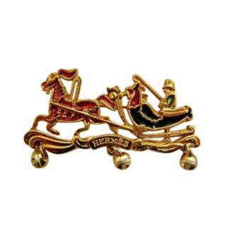 Hermes Vintage Gold Tone Enamel Christmas Pin Brooch