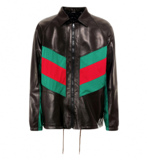 Gucci Black Lambskin Coat with Web Stripe Panels
