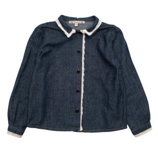 Bonpoint Blue Denim Long Sleeve Shirt with Lace Details