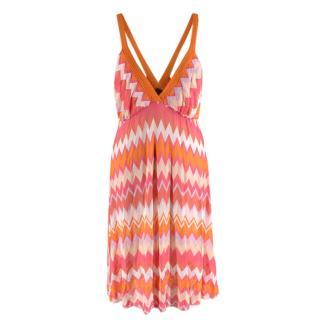 Missoni Mare Pink & Orange Chevron Print Knit Mini Dress