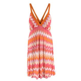 Missoni Mare Pink & Orange Chevron Print Knit Mini Dress