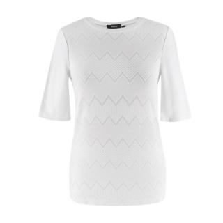 Theory White Cotton Knit Short Sleeve Top