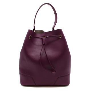 Furla Purple Grainy Leather Top Handle Bucket Bag