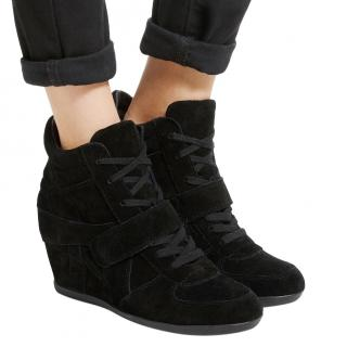 Ash Black Bowie wedge high top trainers