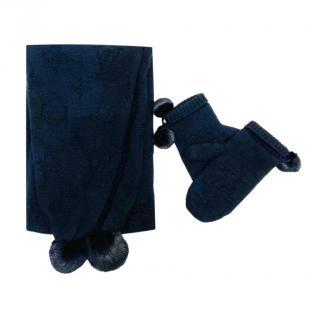 Louis Vuitton Black Monogram Cashmere Mink Fur Trimmed Scarf & Mittens