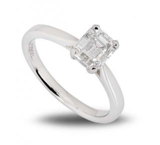 Bespoke Platinum Emerald Cut Diamond Ring